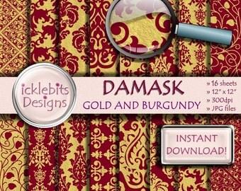 "Burgundy and Gold Foil Damask Digital Paper, ""BURGUNDY & GOLD DAMASK"" paper, Burgundy Scrapbook Paper, Red and Gold Paper. Design #89"