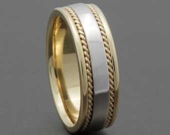 7mm Two Tone 14K Yellow Gold /White Gold Wedding Band, High Polished Finish, Rope Twist, Comfort Fit, Two Tone Ring,
