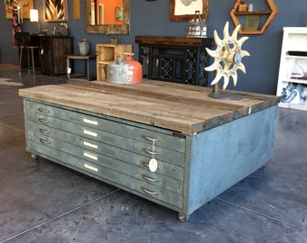Drafting drawer coffee table