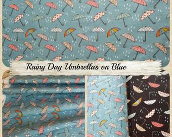 Blue Rainy Day Umbrella Print 100% Cotton Fabric UK Seller