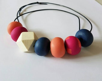 Pink, blue and peach clay bead necklace.