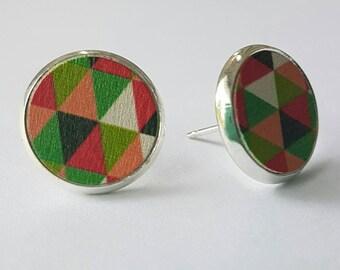Funky wooden disc earrings.