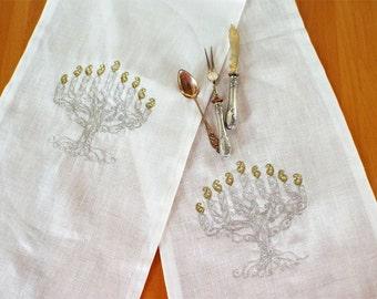 Chanuka Table Runner Silver Menora Runner Hanukkah Table Runner Hanukkah Table Hanukkah Decoration Hanukkah Gift Chanuka Gift Menorah decor
