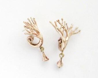 Tree brass earrings