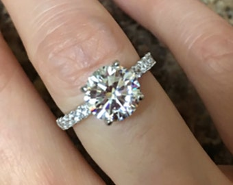 2 carat vintage solitaire engagement ring sealed kisses man made diamond ring solid sterling - 2 Carat Wedding Ring