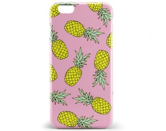 1370 // Pineapple and Pink Background Summer Phone Case iPhone 5/5S, 6/6S, 6+/6S+ Samsung Galaxy S5, S6, S6 Edge Plus, S7