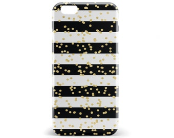 1352 // Black and White Stripes with Gold Confetti Phone Case iPhone 5/5S, 6/6S, 6+/6S+ Samsung Galaxy S5, S6, S6 Edge Plus, S7