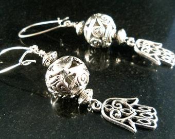 Dangle Earrings Hamsa / Fatima Hand dangle earrings / Kabbalah. Silver plated women's earrings  / Ref.# EH001