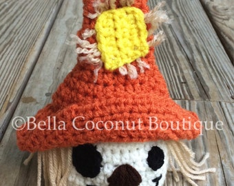 Newborn Scarecrow Hat, Crochet Scarecrow Hat, Crochet Baby Scarecrow Hat, Scarecrow, Newborn Photo Props, Crochet Photo Props