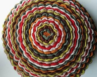 Round cushion, crochet, 40 cm, cotton