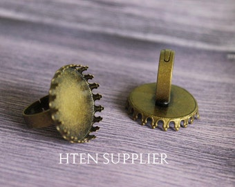 20 or 100pcs flower side Silver Antique bronze 25mm ring base,Antique bronze 25mm Ring blanks,Ring Setting Bezel,25MM Ring trays