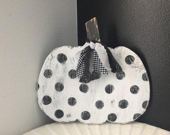 White and black polka dot pumpkin