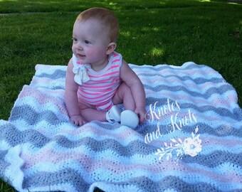 Baby girl blanket - Crochet baby blanket, pink, white and gray afghan, baby pink,  blanket, baby girl nursery decor, shower gift