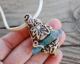Blue Aura Quartz - Handmade polymer clay pendant