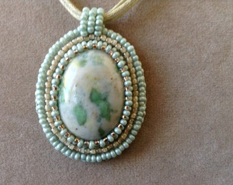 Bead embroidery pendant necklace green (item #335)