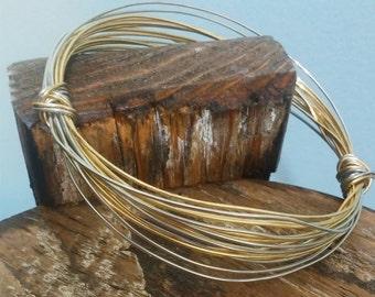 Two tone bangel bracelet Wire bracelet Silver & Gold wire bangle bracelet