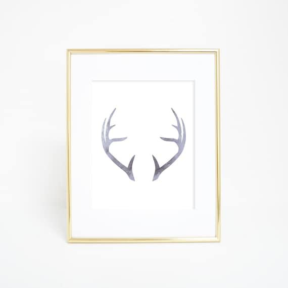 Deer Antler Print, Printable Artwork, Wall Printables, Woodland Nursery, Deer Art, Gray Deer Antlers, Downloadable Art, Deer Printables