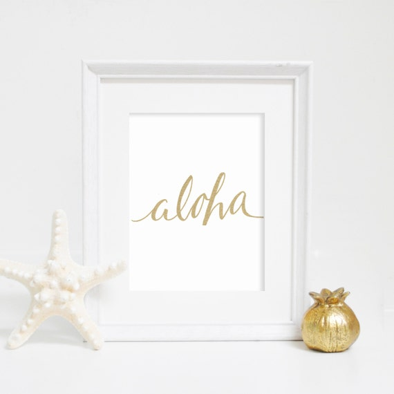 Wall Art Decor Gold : Aloha print gold wall art by