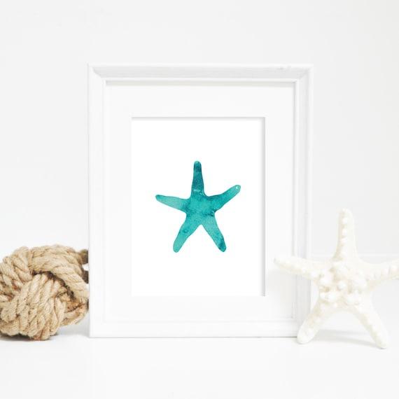Nautical Prints, Starfish Print, Beach House Decor, Starfish Art, Nautical Art, Watercolor Print, Nursery Decor, Nursery Wall Art, Beach Art