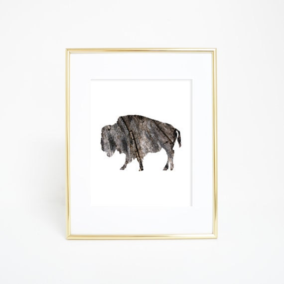 Bison Art Print, Buffalo Print, Buffalo Wall Decor, Rustic Bison, Rustic Woodland Art, Woodland Print, Woodland Decor, Woodland Nursery