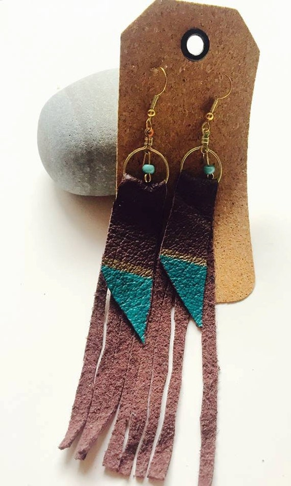 Leather geometric tassel long earrings with bead accent