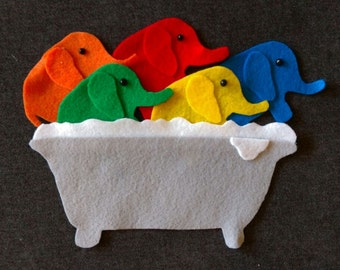 5 Elephants In A Bathtub Felt Set // Flannel Board Story Set  // Preschool // Teacher Story // Counting // Colors //