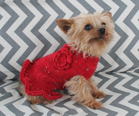 Knitting Patterns For Xxs Dogs : Hand Knit Dog Puppy Sweater Dress XXS/XS 3 to 5 Lbs with