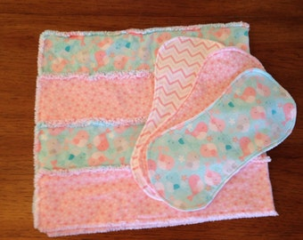 Baby Rag Quilt w/ Option of 3 Burp Cloths
