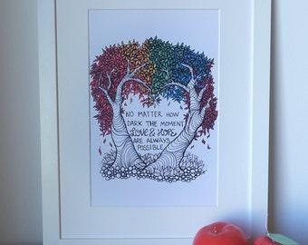 Love & Hope typography, rainbow heart-tree zendoodle print.