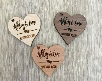 25 Custom wooden tags, wooden hearts, wood tags, heart tags, invitation tags, personalized favor tags, wedding favor tags