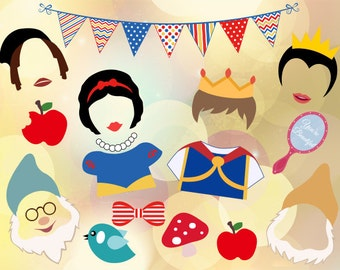 Printable Snow White Princess Photobooth Props, Printable Snow White Photo Booth Props, Snow White Party Printable, 7 Dwarves, 0400