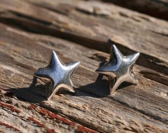 Vintage Sterling Silver Star Post Earrings