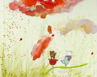 Original Watercolor Painting,Aquarelle Originale,Morpho,Red flowers,Nature decor and little Blue figure