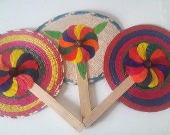 Handmade Woven Palm Hand Fans
