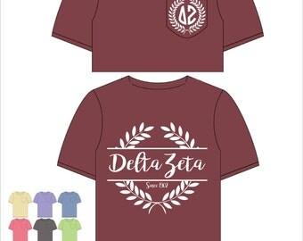 Delta Zeta // DZ // Sorority Comfort Color Pocket Tee (Nobilis)  Short Sleeve Tshirt // Greek Apparel // Choose Your Color