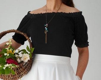 Off shoulder top, black, frills, loose fit, romantic style
