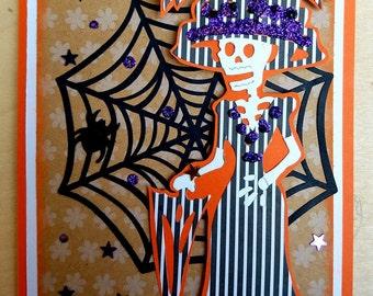 Elegant Striped Dress Skeleton Woman Card