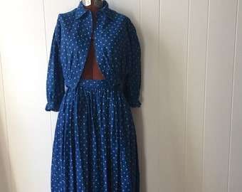 Antique 19th Century Primitive Calico Skirt and Blouse Set