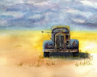 Olde Rusty Truck print from original watercolor painting rustic industrial farmhouse country decor artwork by Debis ARTistry ORT1001