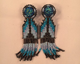 Blue Dangle Earrings, Blue Beaded Earrings, Native American Beaded Earrings
