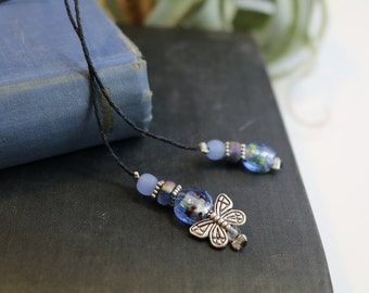 Blue beaded butterfly bookmark