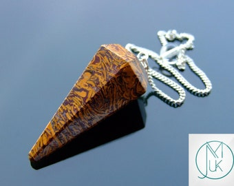Caligraphy Stone Gemstone Point Pendulum Dowsing Crystal Dowser Scrying Reiki Chakra Healing FREE UK SHIPPING