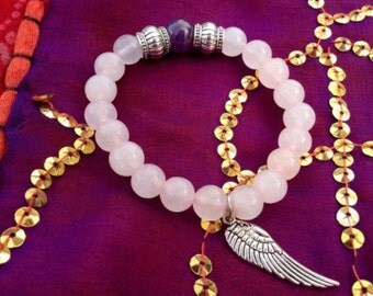 ANGEL PROTECTION. Rose quartz and amethyst. Angel protection wing. Heart Chackra Rose Quartz.