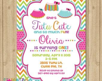 Tutu Birthday Invitation, Tutu Invitation, First Birthday Invitation, Birthday Invitation, Tutu Cute Invitation
