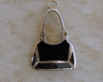 Black Enamel Purse Pocketbook Handbag Vintage Sterling Silver Pendant or Charm