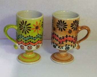 Vintage Retro -Pair of 70's Mod Ceramic Pedestal Coffee Mugs