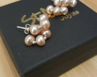 Pearl Earrings sterling silver and pink salmon