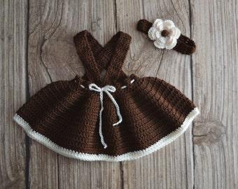 Skirt handmade of crochet-Babies Girls Set -  Crochet Set - Baby Girl skirt with Band  - Session Photo Set - Newborn Girl Photo Session