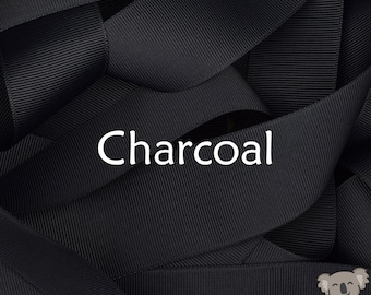Charcoal Grosgrain Ribbon 3 Metre Cut, FREE Shipping, 64 Colours in 7 Widths Available