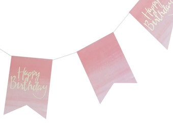 Happy Birthday Bunting | Pink and Gold Bunting | Pink and Gold Birthday Bunting | 3M Long